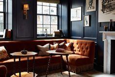 Soho House 76 Dean Street - Love the blue and burn orange.