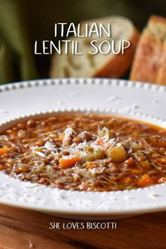 Jan 2020 - A hearty recipe for Italian Lentil Soup. A healthy way to start the New Year! You won't believe how easy this recipe is. Italian Lentil Soup Recipe, Lentil Soup Recipes, Healthy Soup Recipes, Cooking Recipes, Easy Lentil Soup, Cooking Tips, Healthy Hearty Soup, Hearty Recipe, Vegetarian Soup