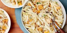 Creamy goat cheese, butternut squash, and toasted walnuts make this pasta a special treat. Directions for: Penne with Butternut Squash and Goat Cheese Goat Cheese Pasta, Goat Cheese Recipes, Vegetable Recipes, Vegetarian Recipes, Cooking Recipes, Cheese Food, Veggie Meals, Food Network Uk, Food Network Canada