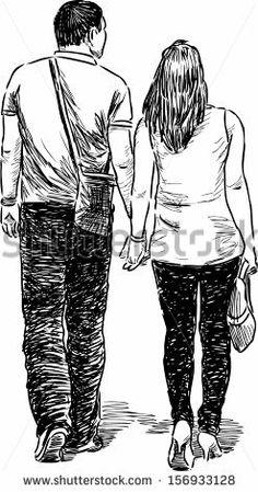 couple at walk - stock vector