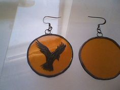 The Crow stained glass earrings glass painting kiln fired