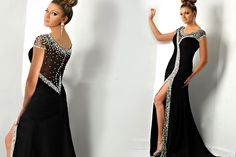 Hottest and gorgeous!! Formal Evening Dress 2015 With Mermaid Scoop Crystal Sexy Front Split See Through Vestidos De Noche Long Party Gown