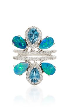 14k White Gold Multi Stone Ring by EDEN PRESLEY with Boulder opal, diamonds and London Blue Topaz