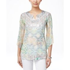 Jm Collection Petite Sublimated-Print Embellished Blouse, ($25) ❤ liked on Polyvore featuring tops, blouses, magic stories, rhinestone embellished tops, petite white blouse, petite white tops, petite tops and jm collection