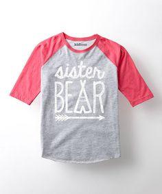 Look at this #zulilyfind! Heather Gray & Pink 'Sister Bear' Raglan Tee - Toddler & Girls #zulilyfinds
