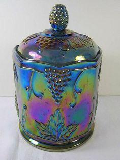 Vintage CARNIVAL GLASS CANISTER Blue Grape Design by LavenderGardenCottage etsy