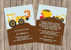 Construction Theme, 3rd Birthday, Invitation Cards, Birthday Invitations, Templates, Etsy, Kids, Bunt, Molde