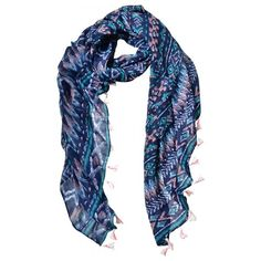 Tribal Print Tassel Scarf ($19) ❤ liked on Polyvore featuring accessories, scarves, blue shawl, tribal print scarves, tassel scarves, blue scarves and tribal scarves