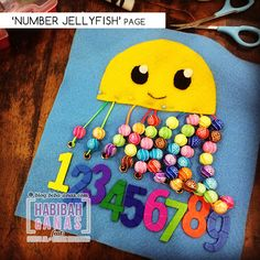 quiet book - jellyfish number page