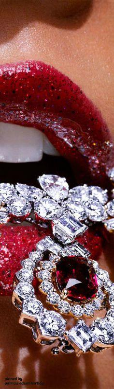 Ruby lips and diamonds Jewelry Editorial, Beautiful Lips, Lip Art, All That Glitters, Material Girls, Red Lips, Glossy Lips, Diamond Are A Girls Best Friend, Luxury Jewelry