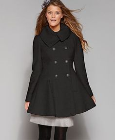 GUESS? Coat, Boucle Double Breasted Flare Wool