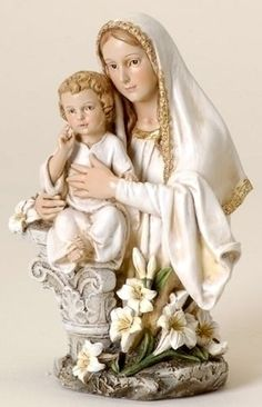 Madonna and child with  Easter Lily Figure Virgin Mary with Jesus Statue NEW
