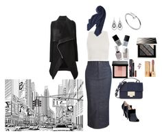 """Out in the city"" by belaya-anna on Polyvore featuring dVb Victoria Beckham, Burberry, Rick Owens, White House Black Market, Zimmermann, Cartier, Uniqlo, Jimmy Choo, Fendi and Yves Saint Laurent"
