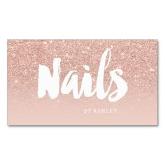 Nails artist modern typography blush rose gold standard business card