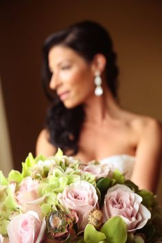 Jessica & Joseph Photo By photography by Orlando. I love that bouquet! Green hydrangea and pink roses