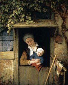 Adriaen van Ostade - Moeder met haar kind in deuropening