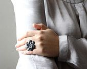 Grey leather flower ring