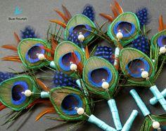 Peacock Boutonnières!