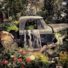 Neat, waterfall, truck, pond