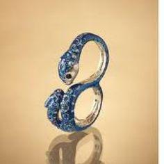Blue snake 2 finger ring <3