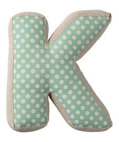 Look at this #zulilyfind! Mint Letter 'K' Pillow #zulilyfinds