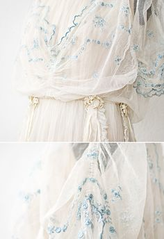 antique 1910s wedding dress with ribbons