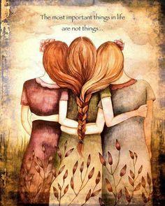 Mother daughter sister hug