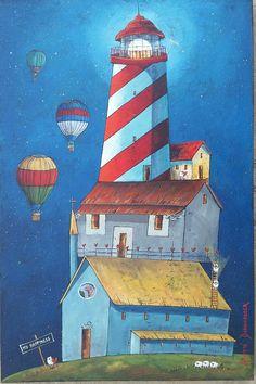 Hothouse lighthouse sheep hot air ballon church acrylic art Hothouse, Air Ballon, South African Artists, Acrylic Art, Little Houses, Lighthouse, Sheep, Passion, Homes