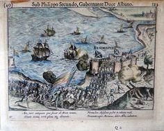 """Zeeland- Rammekens   Copper Engraving  18,5 x 14,5 cm   1616 Uitgegeven door Michael Colinius te Amsterdam. De beleggingsgravures uit de """"Guerres de Nassau"""", welke een gebeurtenis of de situatie van een stad of gebied kenschetsen zoals deze was gedurende de eerste fase van de 80 jarige oorlog, zijn grotendeels verkleinde uitgaven naar Frans Hogenberg.  Verschenen in: """"Les guerres de Nassau"""""""