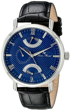 Lucien Piccard Men's LP-10340-03 Verona Stainless Steel Watch with Black Leather Band ** To view further for this item, visit the image link.