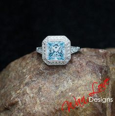 Aquamarine Blue Spinel Diamond Milgrain Asscher Halo Engagement Ring Antique Style,2.5ct,8mm,14k 18k White Yellow Rose Gold-Platinum-Custom