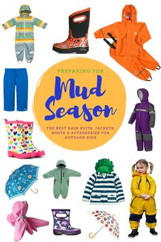 We've rounded up all the best rain gear for kids (rain suits, boots, jackets pants & accessories) for keeping your outdoor kids warm and dry this spring. Outdoor Baby, Outdoor Gear, Outdoor Living, Kids Rain Suit, Kids Rain Gear, Toddler Rain Boots, Hiking With Kids, Outdoor Activities For Kids, Kids Prints