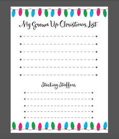 My Grown Up Christmas List. A convenient printable holiday wish list for grown ups!