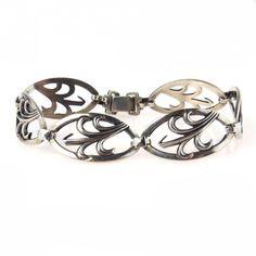 Retro Sterling Leaf Link Bracelet  #lovepreadored