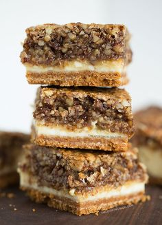 Hazelnut pecan cheesecake bars is a decadent treat perfect for sharing! -  Recipe on tablefortwoblog.com