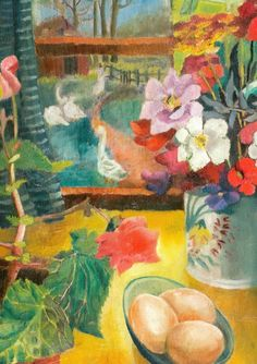 This 1924 painting by Dora Carrington © Bloomsbury Workshop was reproduced in the most recent issue of the Charleston magazine. It's called Eggs on a Table, Tidmarsh Mill. Carrington and Lytton Strachey lived at Tidmarsh between 1917 and 1924.