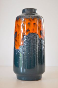 Vintage Fat Lava Vase   Peacock/Marine Blue Orange