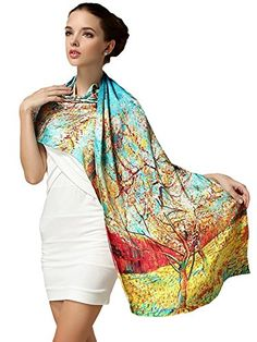 Elegant Lightweight Fashion 100 Silk Scarf Premium Shawl Wrap Art Oblong -- Details can be found by clicking on the image.  This link participates in Amazon Service LLC Associates Program, a program designed to let participant earn advertising fees by advertising and linking to Amazon.com.