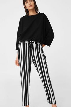 Mango striped black & white trousers for summer