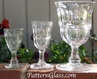 A set of flint stems in Ashburton pattern by the New England Glass Co. ca 1860s. From left, cordial, wine & water goblets.