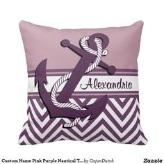 Custom Name Pink Purple Nautical Theme Pillow