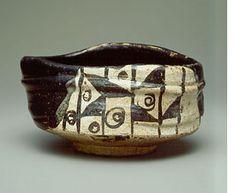 黒織部沓形茶碗 わらや 五島美術館