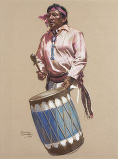 Artist: Bettina Steinke 1913 - 1999 AOA, NAWA, SI | Title: The Turquoise Drummer | Signed l/l: Bettina Steinke '79 | Media: Pastel on paper | Dimensions: 24 by 18 inches