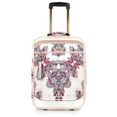 River Island Pink floral suitcase ($140) ❤ liked on Polyvore featuring bags, luggage, bags / purses, pink and women
