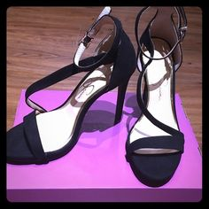 Jessica Simpson Black Suedes Jessica Simpson black suede with wrapping straps and adjustable buckle. Jessica Simpson Shoes Heels