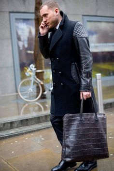 The Shiny Suit Theory, Duffle Coat & Leather Details w/ Embossed Tote Bag
