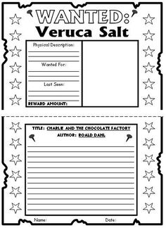 Charlie and the Chocolate Factory Wanted Posters Projects Veruca Salt Example Roald Dahl Activities, Book Activities, Charlie Chocolate Factory, Chocolates, Roald Dahl Day, School Themes, School Ideas, Teaching Language Arts, Book Study