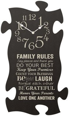 Family Rules Puzzle Clock
