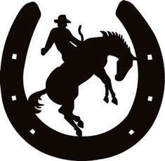 Horseshoe w/ Cowboy 2 Decal - Custom Wall Graphics Cowboy Theme, Cowboy Art, Western Theme, Western Signs, Arte Equina, Plotter Cutter, Horse Silhouette, Wood Burning Patterns, Scroll Saw Patterns