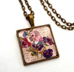 Angular pansies necklace in antique style flower necklace - pinned by pin4etsy.com
